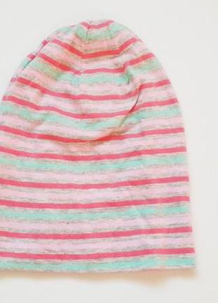 Шапка alive в полоску цветную детская для девочки розовая