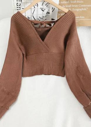 Коричневый свитер на запах с объёмными рукавами женская кофта ...