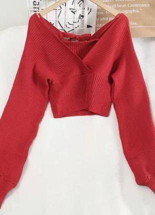Красный свитер на запах с объёмными рукавами женская кофта с v...