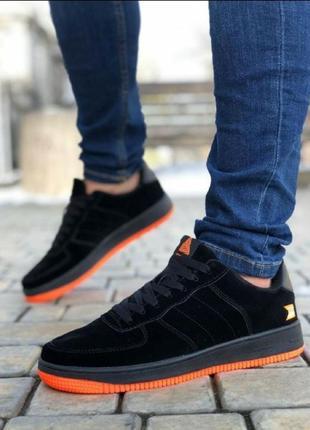 Мужские кроссовки форс замш черно-оранжевый