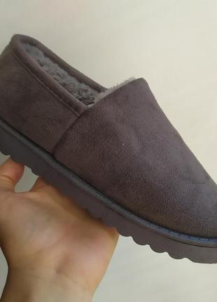 Sale! теплые слипоны,короткие угги, ботинки на меху! серые