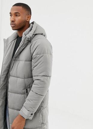 Зимний длинный серый пуховик, куртка, парка мужская bershka