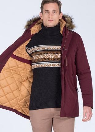 Бордовая мужская зимняя куртка, парка на меху