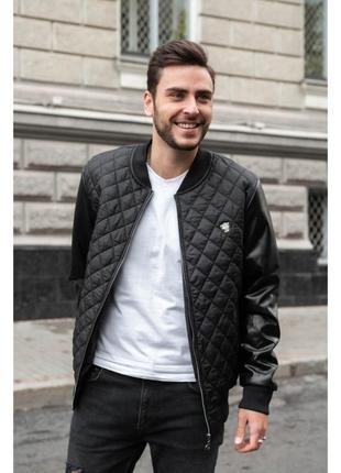 Мужская стеганная куртка осень весна деми с кожаными рукавами