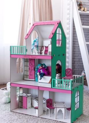 Деревянный дом для кукол барби,кукольный домик для девочки,нал...