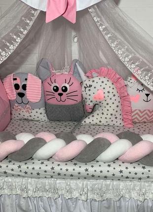 Бортики в кроватку,постельное для новорождённых,балдахин,одеяло,