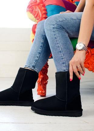 🌹зимние чёрные женские угги🌹 кожаные ugg, ботинки \сапоги зима...
