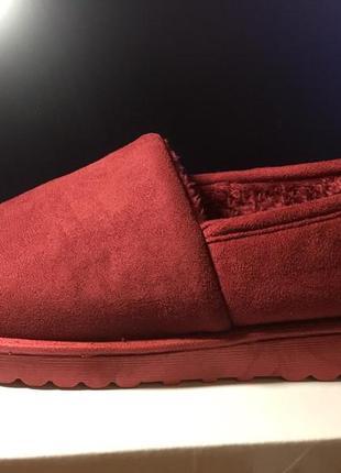 Sale! теплые слипоны,короткие угги, ботинки на меху! бордовые!...