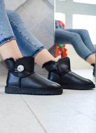 🍒угги🍒женские кожаные чёрные зимние сапоги \ботинки\уги ugg, зима