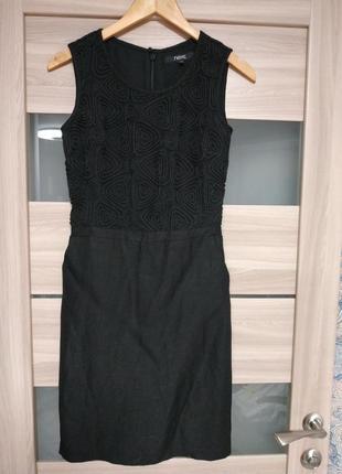 Красивое платье миди с кружевным верхом лён в составе