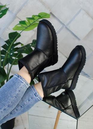 ♥️женские зимние уги!♥️чёрные кожаные ugg, ботинки \сапоги зима