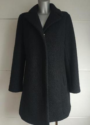 Теплое шерстяное пальто new look черного цвета