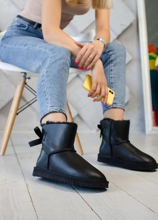 Женские чёрные кожаные уги. зимние ugg, ботинки \сапоги зима, ...