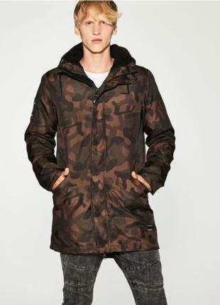Мужская зимняя парка куртка 3в1 камуфляжа на меховой подкладке...