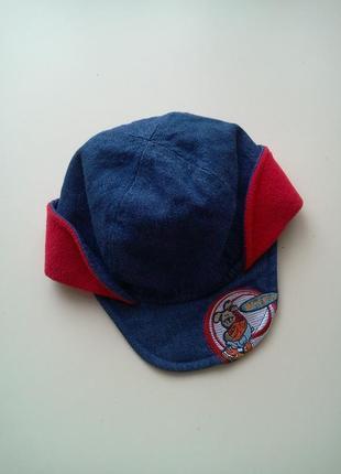 Утепленная джинсовая кепочка/шапочка с козырьком на флисе от m...
