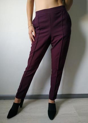 Шикарные классические брюки штаны марсала бордо с карманами за...