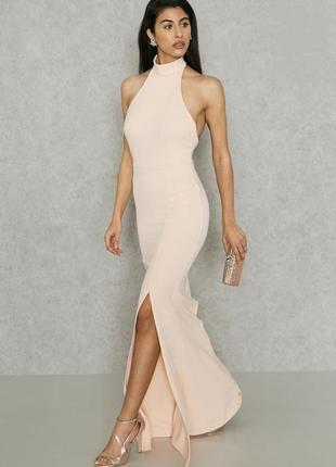 Шикарное платье в пол с разрезом пудровое нюд