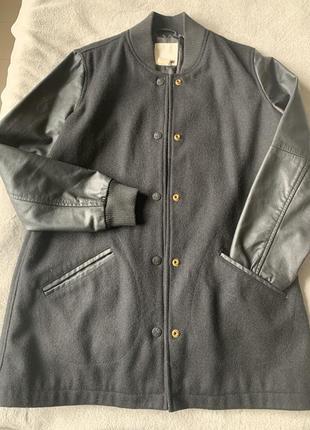 Шерстяное пальто, бомбер с кожаными рукавами levis, оригинал