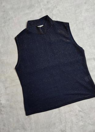Блестящая темно синяя  майка/блуза l
