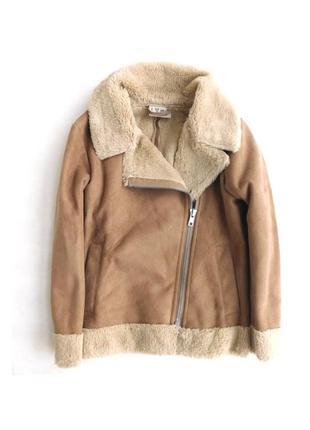 Куртка косуха на меху дубленка авиатор из искусственной замши ...