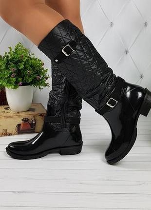 Женские высокие силиконовые резиновые черные стеганые сапоги