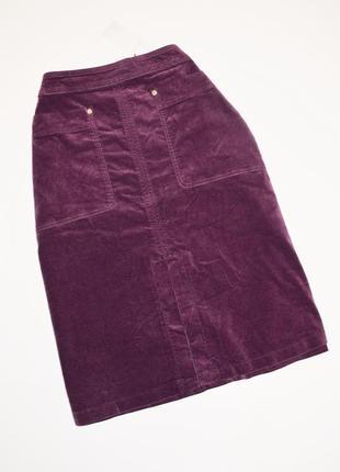Вельветовая юбка с карманами и разрезом спереди per una