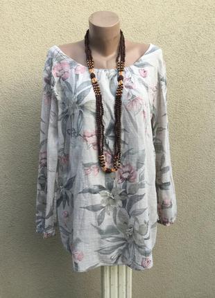 Блуза,рубаха в цветочный принт,хлопок-вискоза,этно,бохо стиль,...