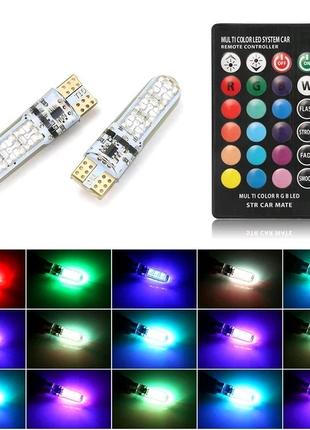 Світлодіодні лампи в габарити Стробоскопи RGB T10 w5w з пультом