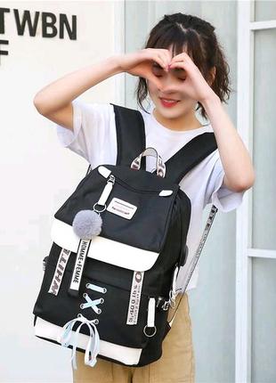 Шкільний рюкзак HiFlash для дівчаток бузковий Чорний
