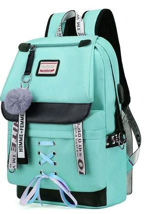 Шкільний рюкзак HiFlash для дівчаток бузковий Бірюзовий
