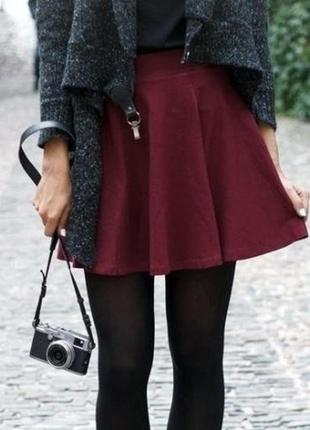 Хлопковая юбка из коттона оттенка марсала h&m