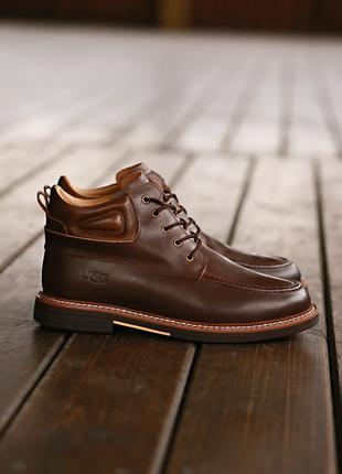Люксовые Мужские Ботинки Угги UGG Australia Leather Boot Brown