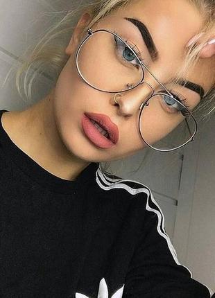 Новые модные очки авиаторы для имиджа, серебристые
