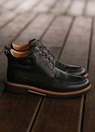Люксовые Мужские Ботинки Угги UGG Australia Leather Boot Black