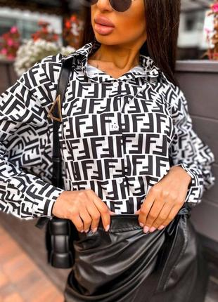 Блузка шифоновая рубашка черно-белая
