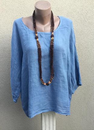 Лен100%,блуза,рубаха-реглан,этно,бохо стиль,италия