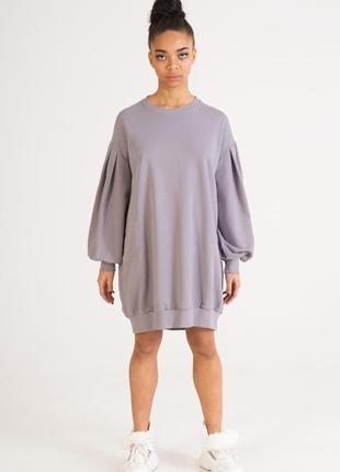 Серое платье-свитшот  | платье свитшот серого цвета бренда colo
