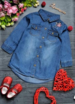 Классная платье рубашка с вышивкой 9-12месяцев
