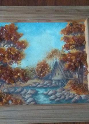 Картина с натуральным янтарем
