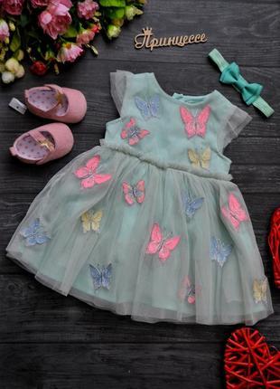 Нарядное платье мятного цвета primark 3-6месяцев