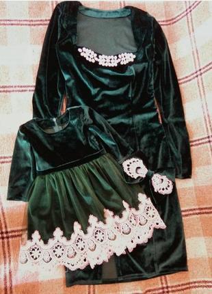 Офиненный бархатный набор family look платье для дочки и мамы