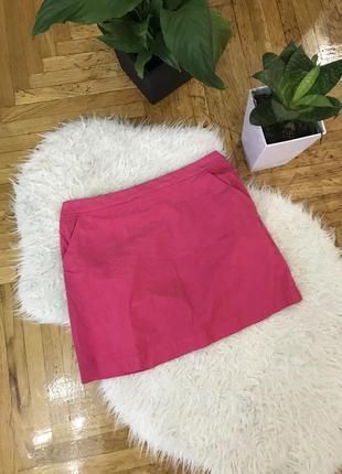 Яркая розовая фуксия юбка мини вельвет микровельвет h&m