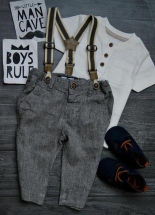 Набор брюки с подтяжками и футболка next 3-6месяцев
