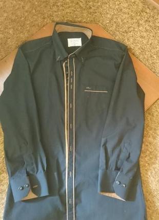 Черная рубашка с длинным рукавом ххl большой размер (батал)