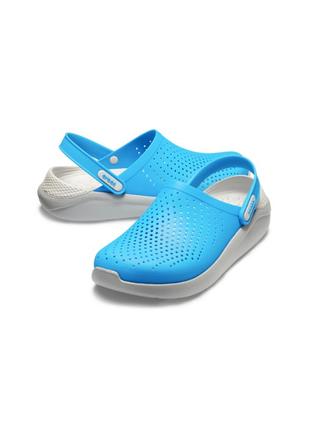 Сабо кроксы crocs literide™ clog ocean/light grey (голубой-серый)