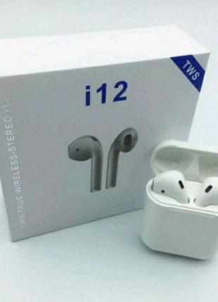 Беспроводные сенсорные Bluetooth наушники AirPods i12-TWS, лучшая