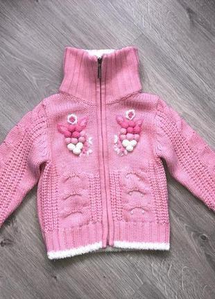 Очень классный тёплый вязаный свитер для девочки, вязаная кофта