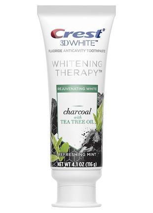 Отбеливающая зубная паста crest 3d white charcoal с маслом чайног