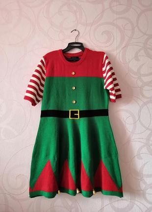 Вязаное платье (костюм эльфа на новый год, хэллоиун), большой ...