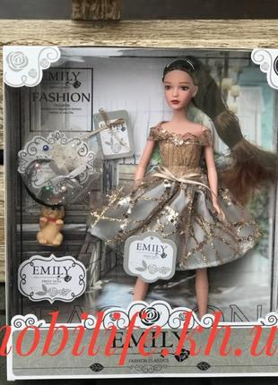 Кукла BJD Emily 28см с питомцем Собачкой/Красивым Нарядом/Платье